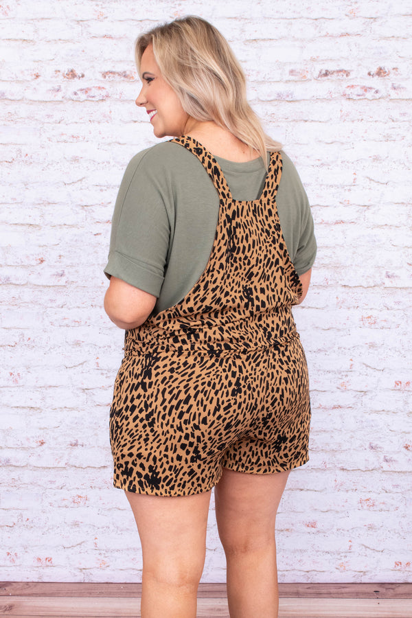 overalls, shorts, brown, black, leopard, comfy, spring, summer