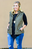 vest, olive, drawstring waist, pockets, hood, zipper, outerwear, fall, winter