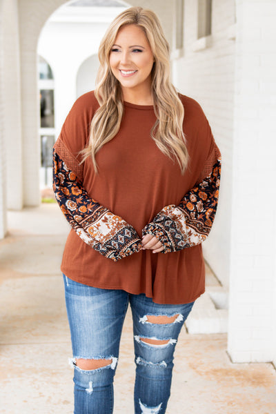 top, casual top, orange, floral, bubble sleeve, rust