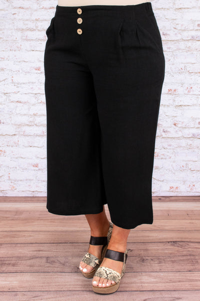 bottoms, pants, button waist, pockets, pleated, black, cropped, wide leg