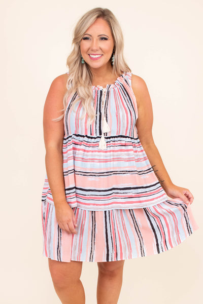dress, short, sleeveless, ruffle neckline, tassels, tiered, flowy, colorblock, striped, white, blue, pink, black, comfy, spring, summer