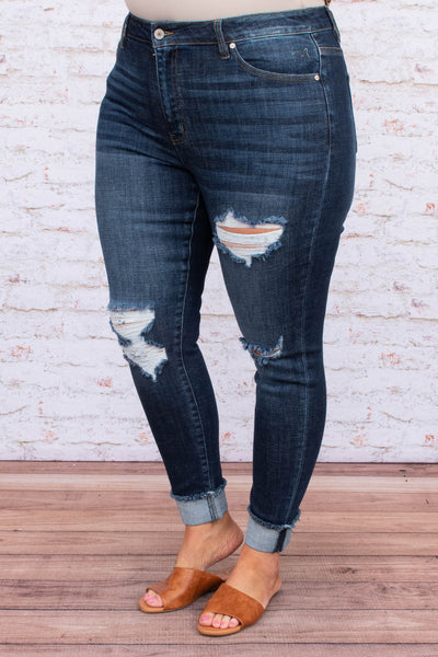 jeans, skinny, long, frayed hems, dark blue, faded, ripped, distressed