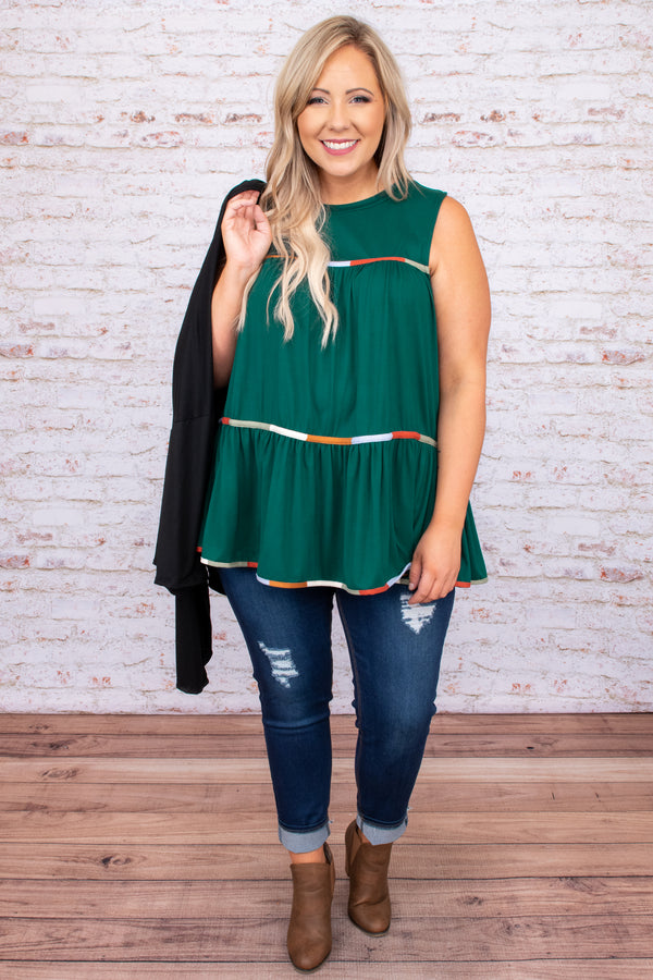 top, baby doll, tiered, green, detail, sleeveless, round neck, flowy, hem detail