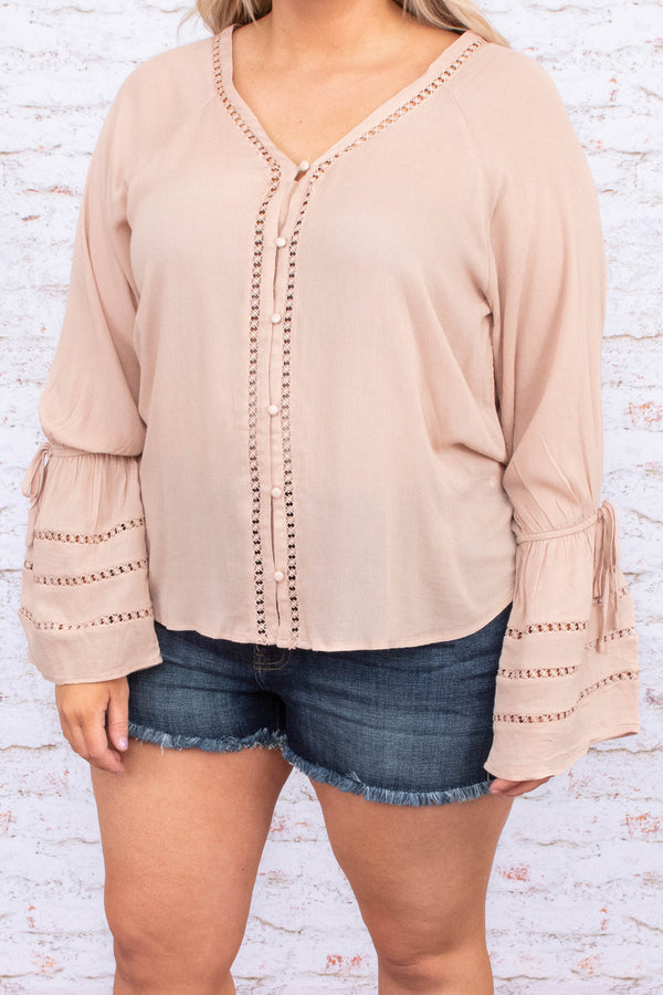 blouse, long sleeve, bell sleeves, vneck, short, button down, lace details, bow detail, comfy, beige
