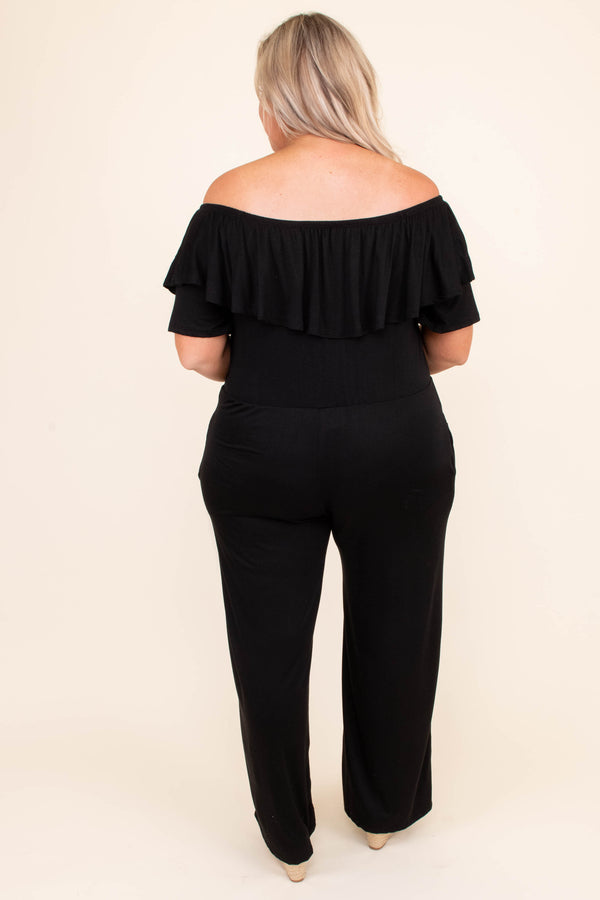 jumpsuit, off the shoulder, black, ruffle, comfy, short sleeve