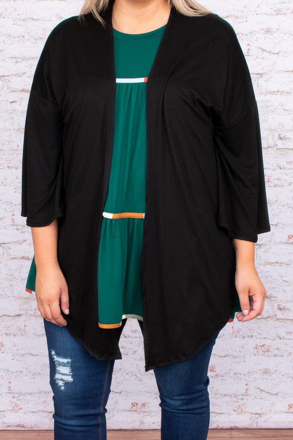 cardigan, open front, flowy, above the knee, black, solid, neutral