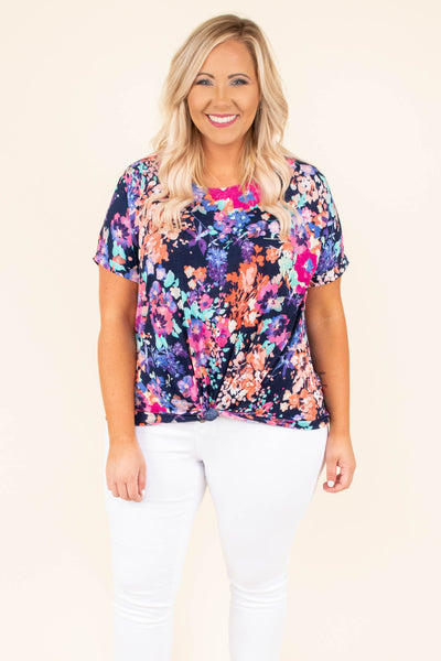 shirt, short sleeve, short, knotted hem, navy, floral, pink, purple, orange, green, comfy, spring, summer