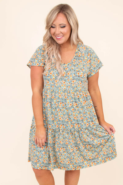 dress, floral, baby doll, sage, yellow, short sleeve, spring, summer, comfy, loose, short dress
