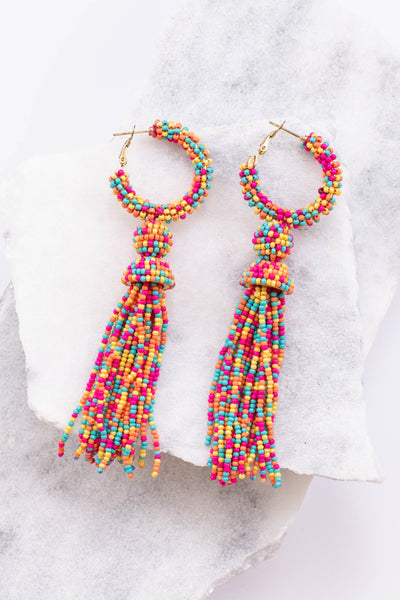 earrings, hoops, tassel, colorful, multicolored, beaded, pink, orange, yellow, blue