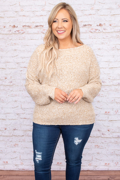 top, sweater, neutral, brown, solid, long sleeve
