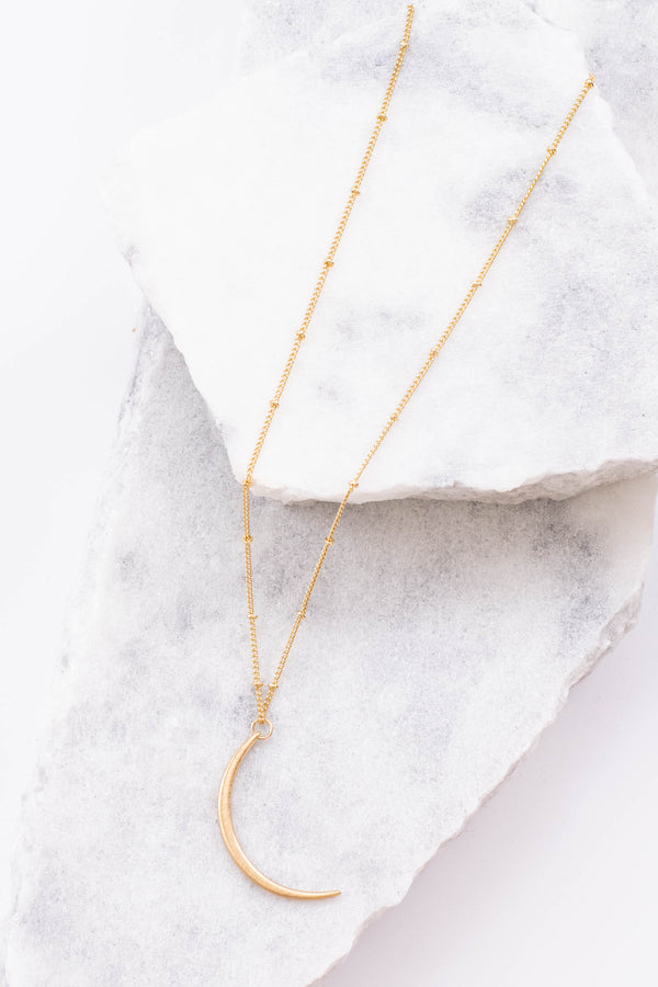 necklace, mid length chain, moon, gold, simple