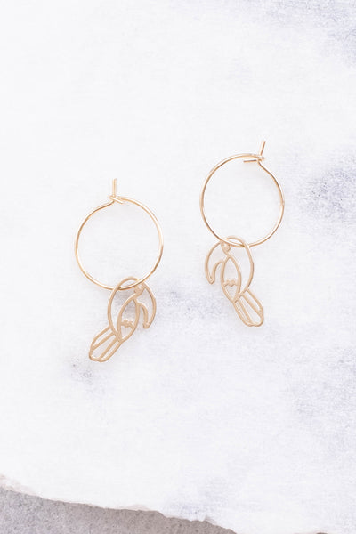 earrings, hoops, toucan outlines, gold, dainty