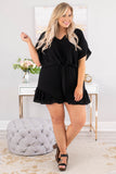 romper, short sleeve, shorts, vneck, tie waist, ruffle shorts, black, comfy, spring, summer