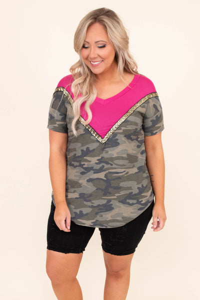 shirt, short sleeve, curved hem, chevron, colorblock, pink, gold glitter, green, camo, comfy