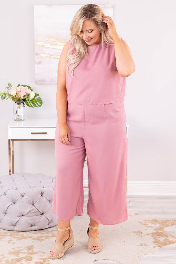 jumpsuit, sleeveless, cropped pant, wide leg, loose, structured, mauve, comfy, spring, summer