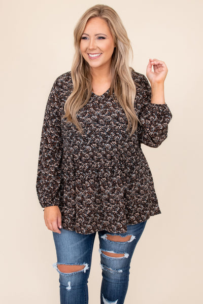 top, casual, babydoll top, black, floral , long sleeve, comfy, cozy, layer, white
