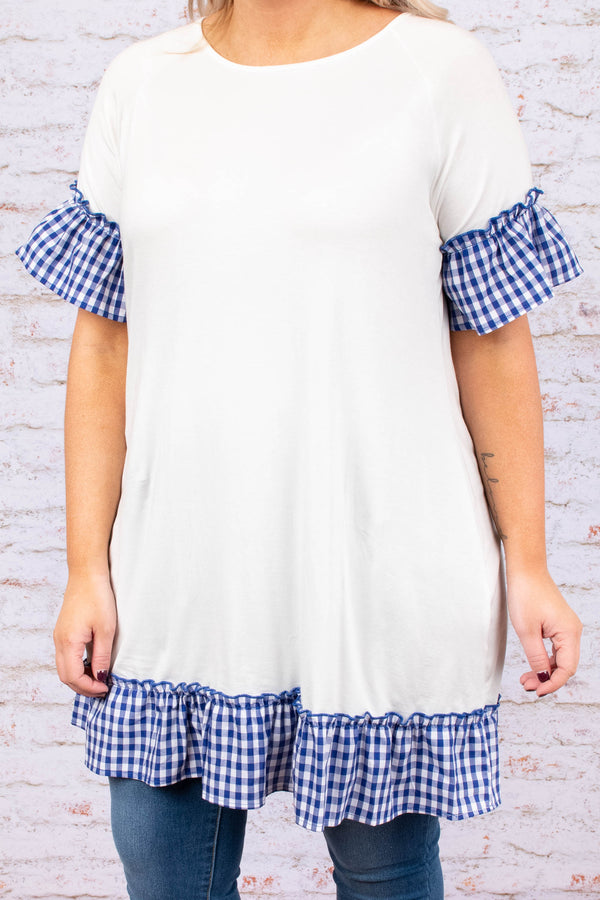 dress, short, short sleeve, ruffle sleeve, ruffle hem, white, solid, blue plaid, plaid ruffles, comfy