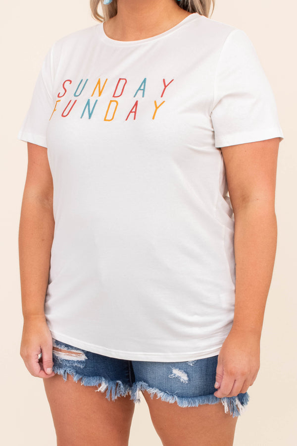 shirt, short sleeve, curved hem, fitted, white, graphic, sunday funday, yellow, red, blue, comfy