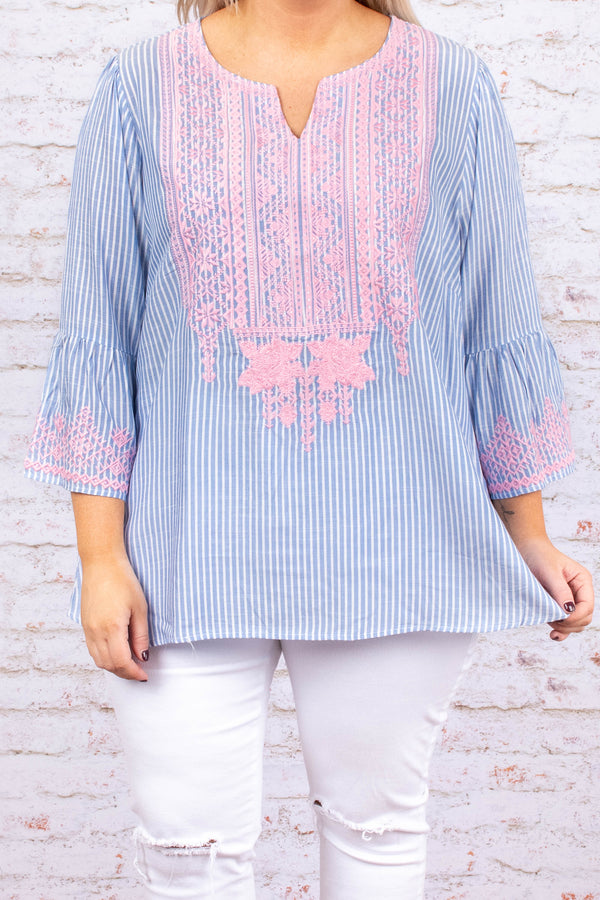 Stitched With Love Top, Blue