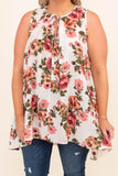 tunic, sleeveless, thick straps, high neckline, tied neckline, long, longer back, flowy, white, floral, pink, green, comfy, spring, summer