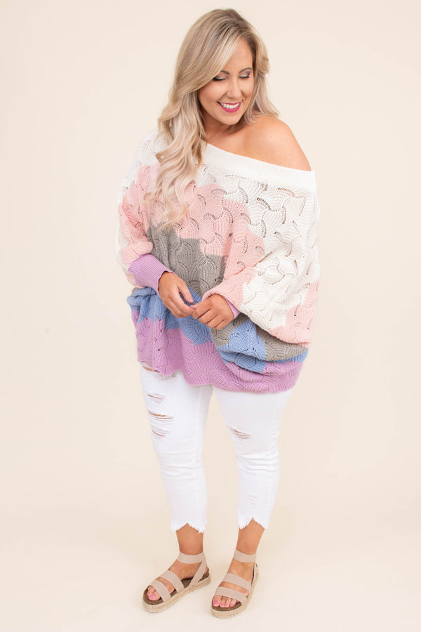 sweater, long sleeve, bubble sleeves, drapey, oversized, scalloped hem, off the shoulder, loose knit, white, blush, mocha, blue, lavender, colorblock, comfy