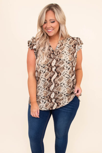 shirt, short sleeve, cap sleeves, ruffle sleeves, vneck, curved hem, long, loose, taupe, brown, snakeskin, comfy, spring, summer