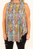 top, shirt, sleeveless, flowy, curved hem, multi colored, pink, yellow, blue, charcoal, snake print
