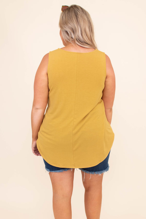 shirt, tank top, sleeveless, accent pocket, leopard pocket, solid shirt, scoop neck, long, loose, comfy, light mustard, yellow