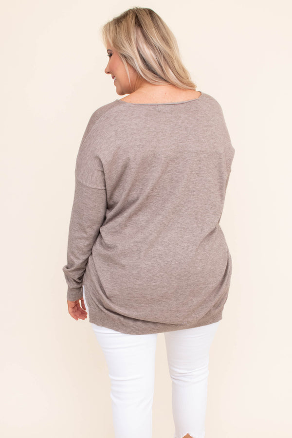 shirt, long sleeve, vneck, center seam, fitted waistband, loose, long, mocha, comfy
