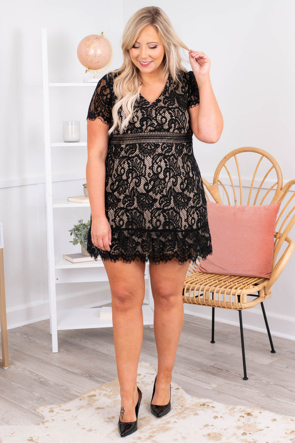 lace, black, party, figure flattering, v neck, short sleeve, short, above the knee