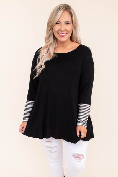 tunic, long sleeve, long, flowy, black, stripe sleeve detail, white, comfy, button up back