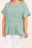 shirt, short sleeve, babydoll, flowy, green, white, leopard, comfy, spring, summer