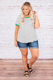 shirt, short sleeve, striped, color black, kelly green, black, white, loose, comfy