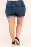 shorts, cuffed, dark blue, faded