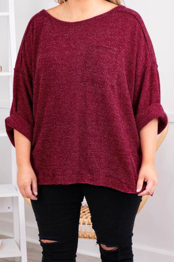 top, textured, wine, solid, neutral, cuffed sleeves, flowy, figure flattering, round neck, comfy