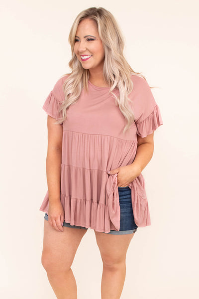 tunic, short sleeve, babydoll, tiered, pink, flowy, comfy, spring, summer