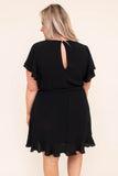 dress, short, short sleeve, vneck, wrap dress, waist tie, flowy, black, comfy
