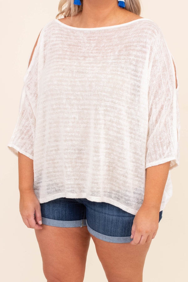 shirt, three quarter sleeve, cold shoulder, slit sleeves, loose, loose knit, thin, white, comfy