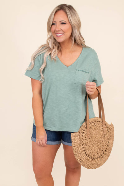 shirt, short sleeve, vneck, cchest pocket, loose, green, embroidered details, comfy