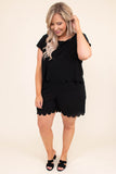 romper, short sleeve, shorts, faux top overlay, pockets, scallop hems, keyhole back, comfy, black, spring, summer