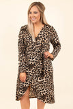 dress, midi, long sleeve, wrap dress, vneck, asymmetrical hem, flowy, brown, black, leopard, comfy, fall, winter