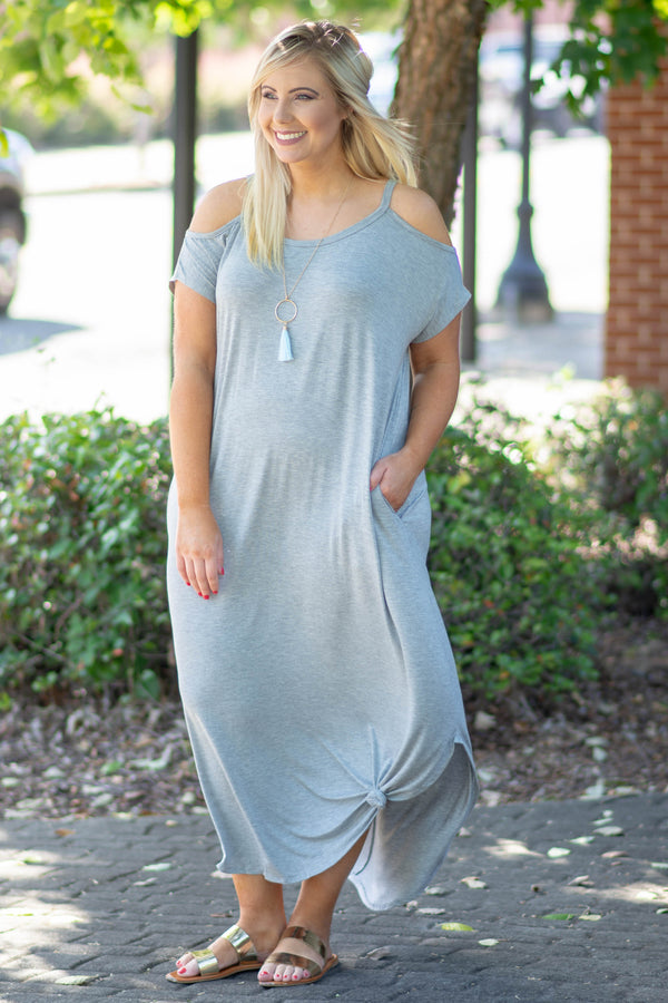Leave Them Speechless Maxi Dress, Heather Gray