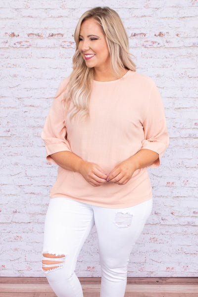 blouse, three quarter sleeve, loose sleeves, fitted waist, blush, comfy