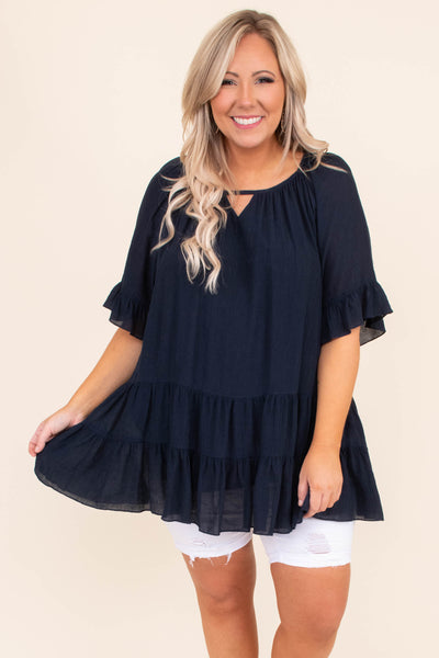 shirt, tunic, short sleeve, ruffled hem sleeve, baby doll, tired, navy, loose, comfy