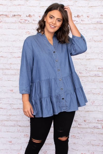 Make The Rules Tunic, Medium Denim