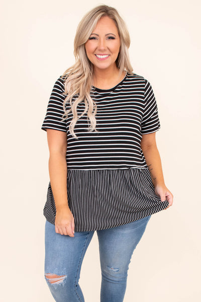 shirt, short sleeve, long, babydoll, flowy, black, white, striped, comfy