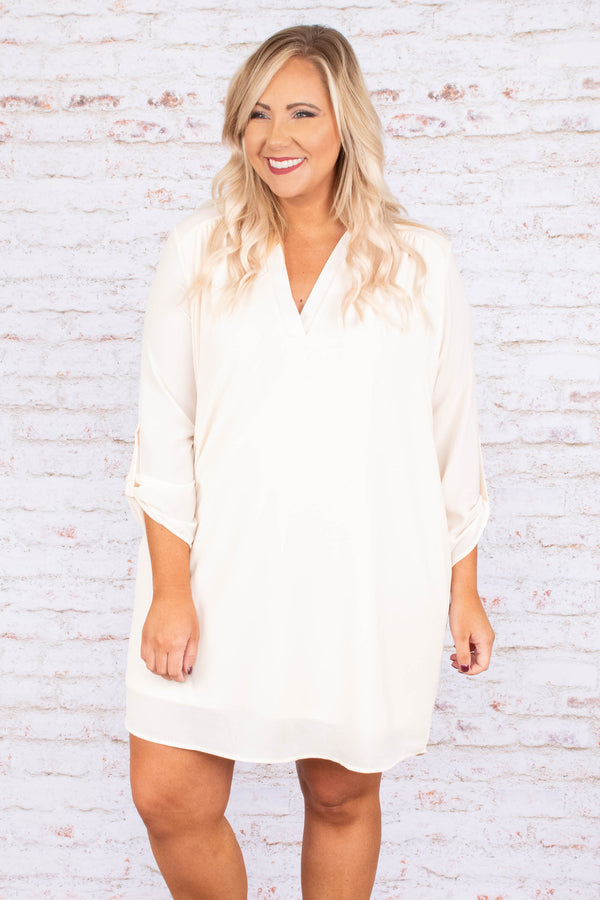 dress, three quarter sleeves, buttoned sleeves, vneck, white, solid, flowy