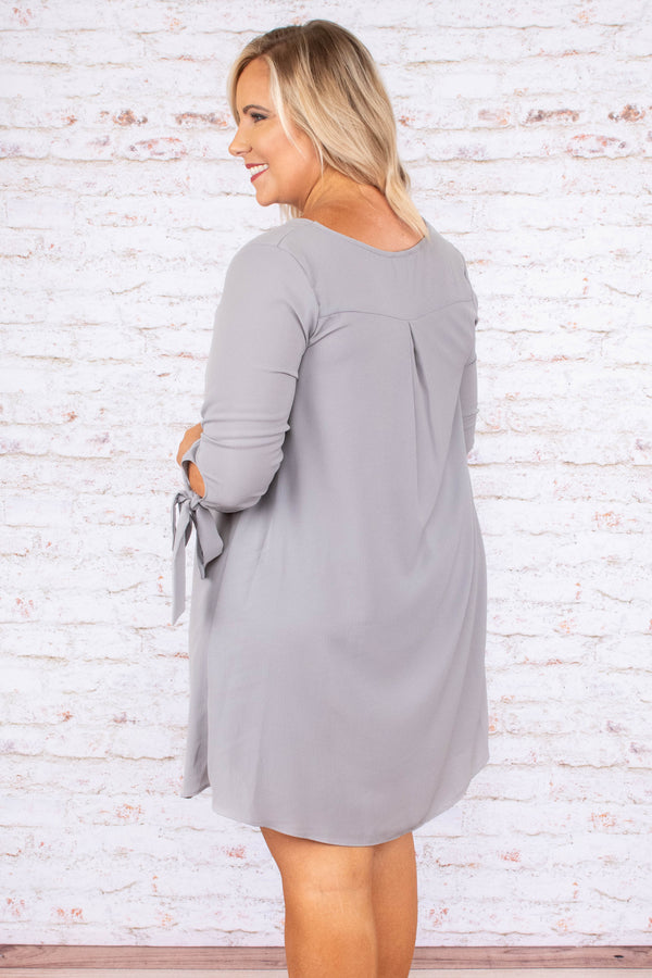 dress, short, three quarter sleeve, tie cuff, curved hem, flowy, silver, comfy