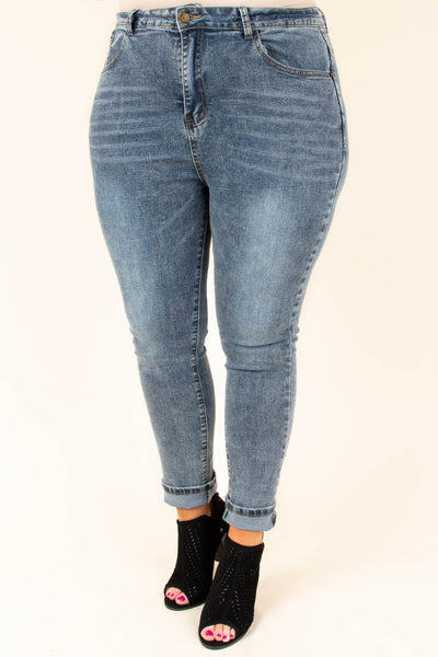 jeans, skinny, mid rise, stone wash, blue
