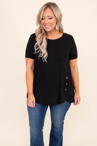 shirt, short sleeve, long, curved hem, side button details, black, comfy